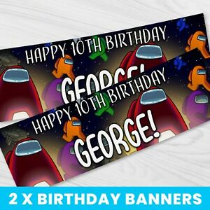 Personalised Among Us Birthday Banner - Children Party Banner x 2