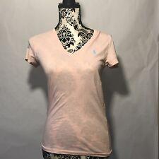 Ralph Lauren Sport Women's Short Sleeve T-shirt Size Medium Light Pink Blue Logo