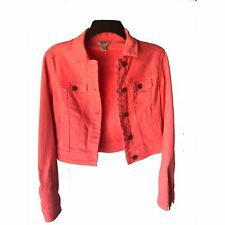 Arizona Jeans Denim Jean Jacket Juniors Small Coral Pink Button Preowned