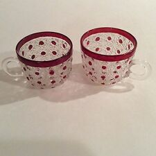 2 Ruby Stained Daisy and Button Pattern Punch Cup circa 1890's