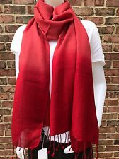 NWT EILEEN FISHER Wool Silk Ombre Wrap Scarf with Fringe China Red MSRP $98