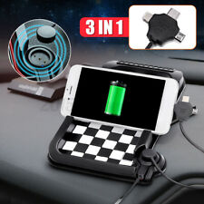 Magnetic Non-Slip Mount Holder Car Dashboard 3 USB Charger GPS Pad Phone Stand