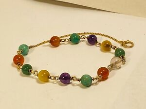"14k Yellow Gold 9"" Multi Gemstone 6mm Rounds Anklet Amethyst Carnelian Jade ++"