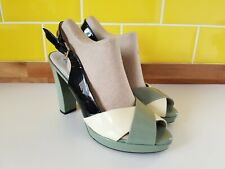 Geox Green Cream Black Patent Leather Block Heel Sandals UK 6 /39 Summer Respira