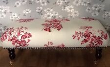 A Quality Long Footstool In Laura Ashley Bramble Cranberry Fabric