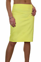 """ICE (2541-5) Stretch Pencil Skirt 22"""" Smart Casual Cotton Sateen Yellow 6-18"""
