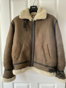 mens shearling leather sheepskin aviator jacket