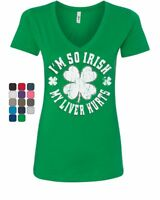I'm so Irish My Liver Hurts Women's V-Neck T-Shirt Shamrock Beer St. Patrick's