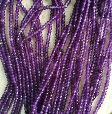 "AAA+ 15"" 2x4mm Purple Amethyst Faceted Rundelle Gems Beads"