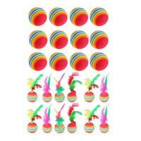 12pcs Katze Regenbogen farbige Spielzeugkugel mit Feder Kätzchen necken Spielzeu
