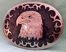 VTG Handcrafted **AMERICAN EAGLE* Mother of Pearl Inlay JOHNSON HELD BELT BUCKLE