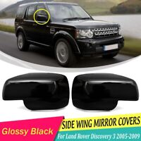2Pcs Wing Side Mirror Cover Cap ABS Glossy Black For Land Rover Discovery 3