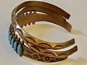 LOT of 3 Vintage COPPER TURQUOISE PETIT POINT & SOUTHWEST STAMPED CUFF BRACELETS