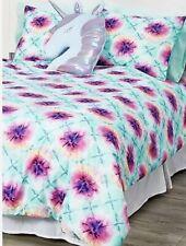 Justice Tie Dye Queen Bed In A Bag Aquamarine/Purple 7 Piece Set Super Cute!