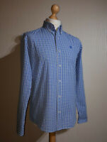 Timberland Long Sleeved Slim Fit Check Shirt Mens Size S Button Down Collar Blue