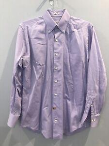 Peter Millar Crown Finish Purple Lavender Long Sleeve Solid Shirt Medium M