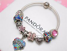 Authentic Pandora Silver Bangle Charm Bracelet With Daughter European Charms
