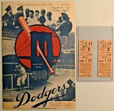 1948 Brooklyn Dodgers Official Program Score Card & Ticket Very Rare  -- 2502