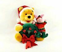 CHRISTMAS DISNEY STORE WINNIE THE POOH PIGLET PLUSH HOLIDAY WREATH SANTA & ELF