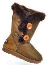 QGG Cheng Fei Brown Button Boots Faux Fur Women's 6 / EU 37