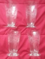 SET OF 4 Vintage  Parfait Etched  Pedestal  Glasses  ribbed clear elegant Mint c
