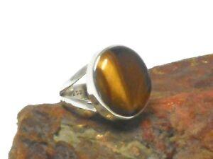 Oval  TIGER'S  EYE  Sterling  Silver   925  Gemstone  RING  -  Size: L