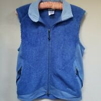 Patagonia Women's Faux Fur Fleece Full Zip Vest Jacket Blue Size Small
