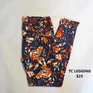 TC LuLaRoe Tall & Curvy Navy Multi-Colored Floral Print Leggings NWOT