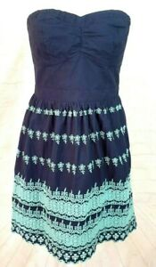 Superdry Strapless Cotton Embroidered Navy and Teal Summer Dress Size L