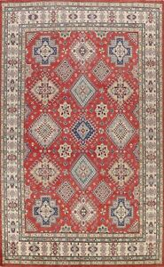 Vegetable Dye Geometric Super Kazak Oriental Area Rug Hand-knotted Tribal 9x12