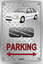Parking Sign Metal VK SS Commodore White Aeros - Checkerplate Look