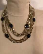 Multi Strand Gold Tone Statement Necklace With Faux Blue Gemstones