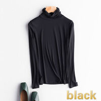 Women Multi-colored Long Sleeve Turtle Neck Pullover T-shirts Tops Fashion Basic