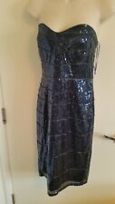 BNWT Jane Norman Sequin Wave Pencil Fitted Dress Mid Blue Size 12 RRP £75