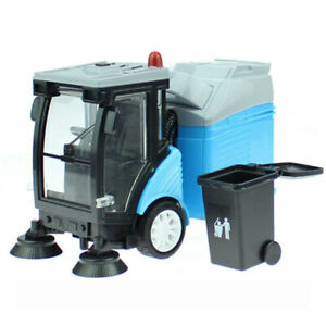 1:50 Road Sweeper Garbage Truck Model w/ Trash Bin Diecast Toy Collection Blue