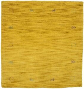Oriental Modern Square Rug Solid Gold 3X3 Hand-Loomed Contemporary Decor Carpet