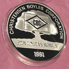 1991 Christensen Boyles Corporation 5 Troy Oz .999 Fine Silver Round Coin Scarce