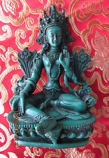 "DETAILED 5 3/4"" BELOVED GREEN TARA BLESSING TIBETAN BUDDHIST STATUE NEPAL NEW"