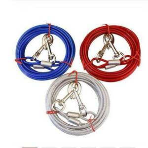 Pet Dog Cable Steel Wire Pull Rope Collar With Metal Strap Lead Hooks CS