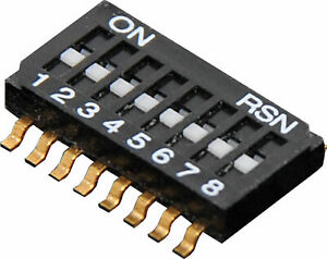 8 Way Half Pitch SMD DIP Switch Gold Plated Contacts and Pins