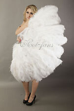 "XL 2 layer white Ostrich Feather fan 34""x 60"" with Travel leather Bag"
