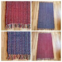 Large Rag Rug Heavy Quality Red Blue Weave Hand Made Indian Chindi Cotton Rugs