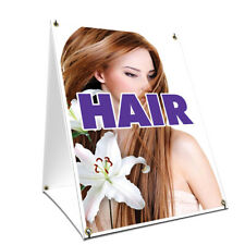 A-frame Sidewalk Sign Hair With Graphics On Each Side