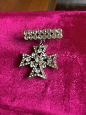 Brooch From The 80's Gothic Cubic Zirconia Cross