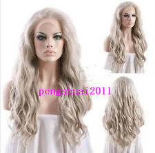Ash Blonde Lace Front Wig Synthetic Hair Hair Fashion Long Wavy Heat Resistant