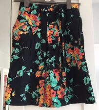 Ladies Ted Baker Skirt, Summer, Knee Length, Black, Flowers, Smart, Size 1