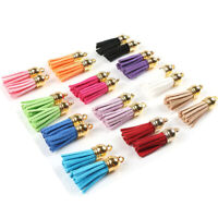 LOT 30Pcs Suede Leather Tassel DIY Keychain Pendants Jewelry Finding Charms