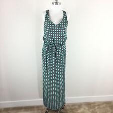 Banana Republic M Blouson Maxi dress Green Navy Geo Jersey knit EUC