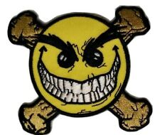 "(D35) EVIL GRIN SMILEY FACE CROSSBONES 3"" iron on patch"
