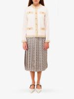 Tory Burch Kendra Raffia Cardigan Sweater  Fringe M Merino Wool Ivory  6 8  NWT